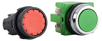 Orion Plastic Push Button Switch (Red and Green, 2-Piece)