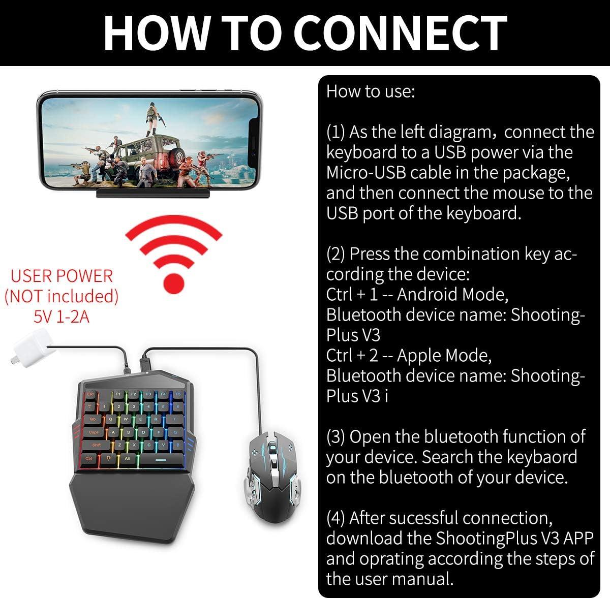 IFYOO - Juego de Teclado y ratón para Juegos de teléfono móvil, Adaptador de Controlador, Compatible con iPhone, iPad, iOS y Android, Compatible con ...