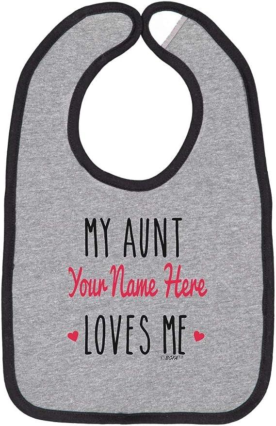 name Loves Me custom embroidered bib Aunt