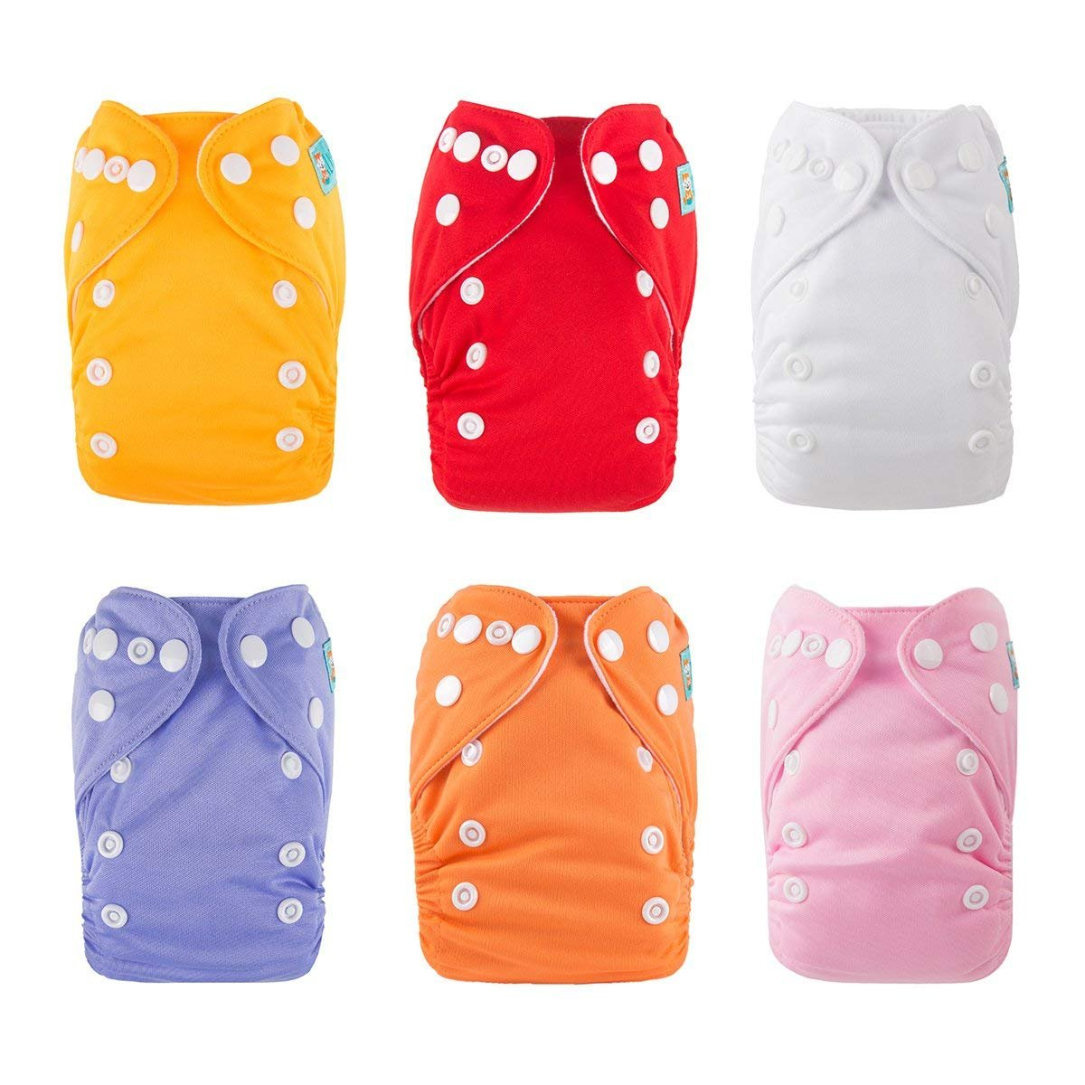 ALVABABY Cloth Diapers Reuseable Washable Pocket Nappy 6 PCS + 12 Inserts 6SVB03-308-CA