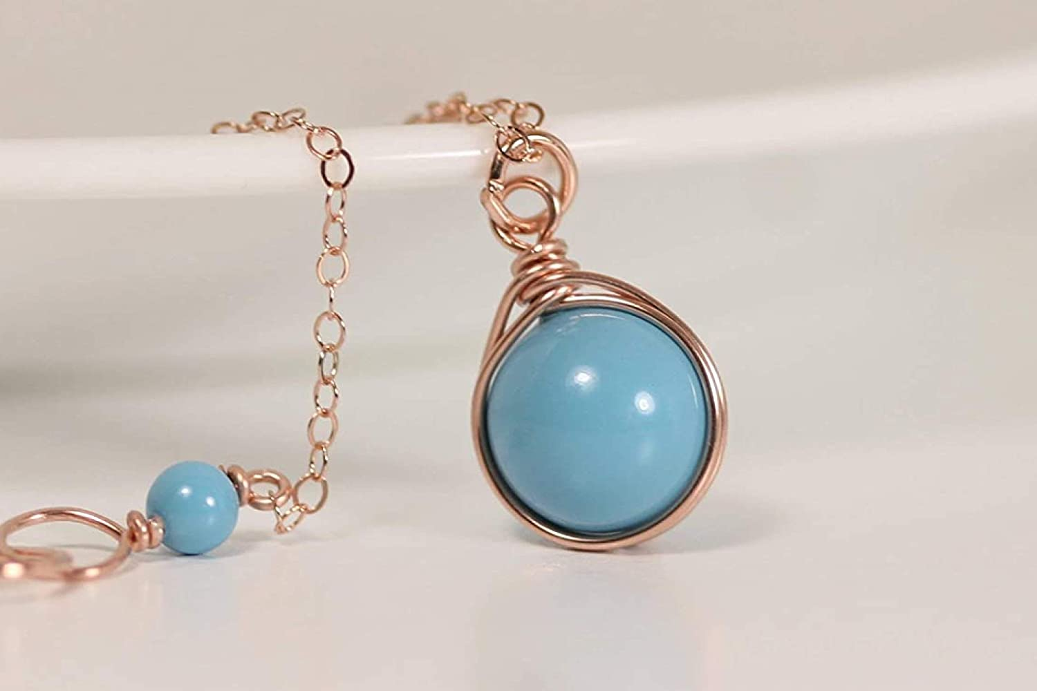 or Sterling Silver Rose Gold Filled Genuine Turquoise Button Necklace in 14K Gold Filled Turquoise Necklace Blue Turquoise Necklace