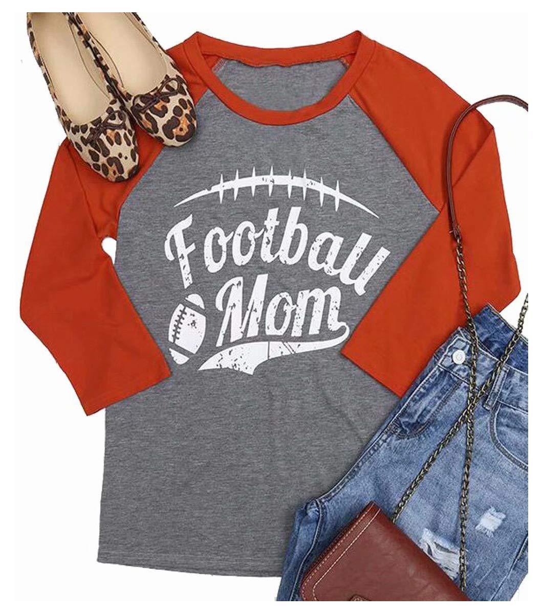 00b85f29 Football Mom Funny T-Shirt Women's Long Sleeve Raglan Baseball Tee Shirt  Softball Tops Size L (Orange)
