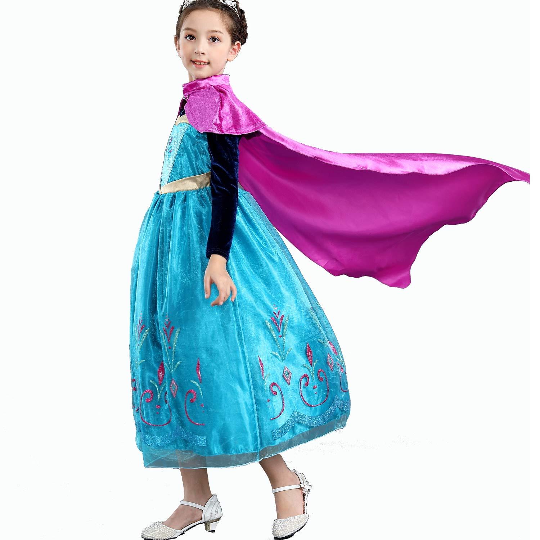 Yeesn Mädchen Prinzessin Anna Kostüm Kleid mit rotem Umhang für Prinzessinnen-Party Cosplay Weihnachten Outfit B07JG34DJG Kostüme für Kinder Professionelles Design | Online Shop Europe