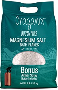 Oraganix Magnesium Salt Bath Flakes. 100% Pure Magnesium Chloride (8 lbs) - Better Absorption Than Epsom Salt Plus 8oz Amber Plastic Spray Bottle