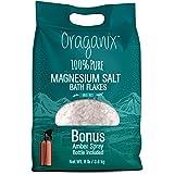 Oraganix Magnesium Salt Bath Flakes. 100% Pure Magnesium Chloride (8 lbs) - Better Absorption Than Epsom Salt Plus 8oz Amber