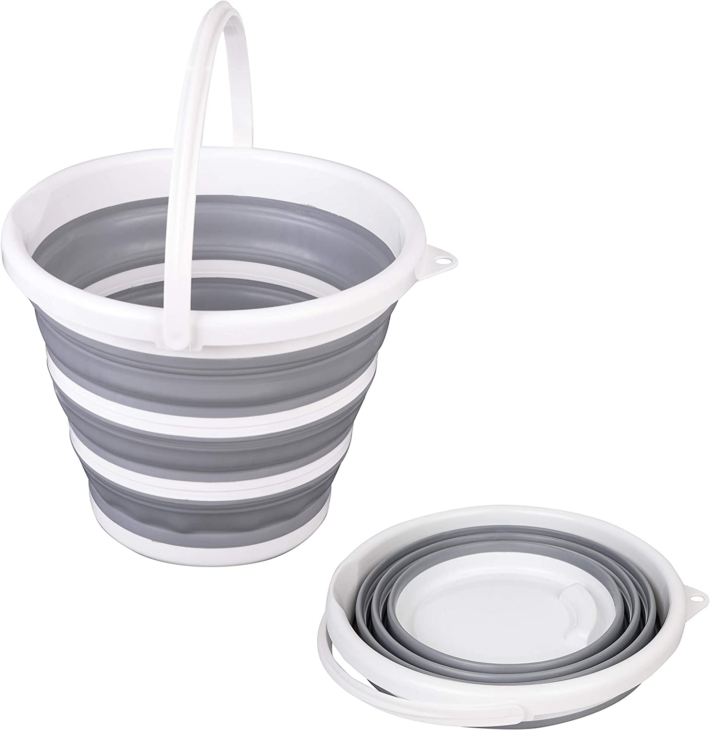 TOLEAD Collapsible Bucket with Handle, Portable Folding Buckets for Cleaning, Space Saving Water Container for Gardening, Camping, Fishing, Outdoor Survival, Round