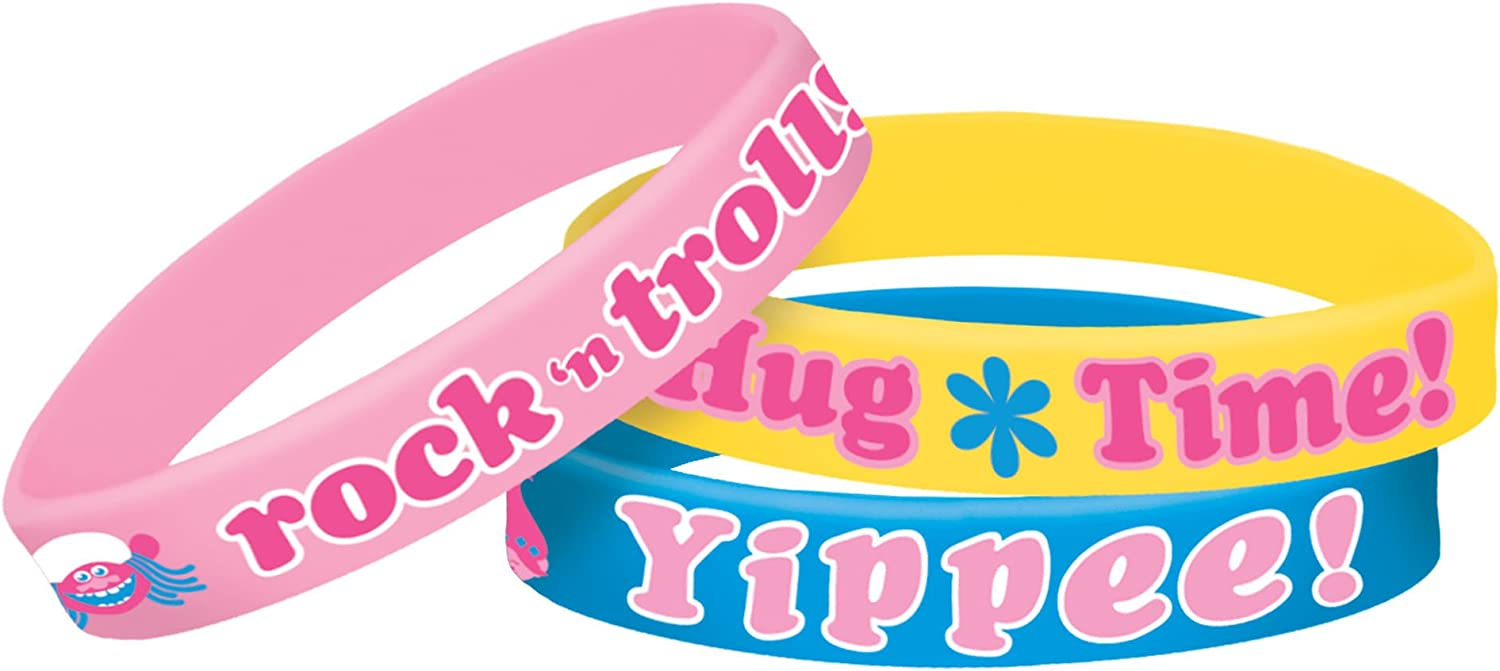 amscan Rubber Bracelets Party Accessory Trolls Collection