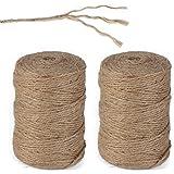 AONER 200metros Cuerda de Cáñamo Cordel Bramante de Yute 2mm Natural Twine Enrollado Resistente para Jardinería Regalos Boda Jarrones Libros DIY Bricolaje Manualidades (100m*2 Rollos)