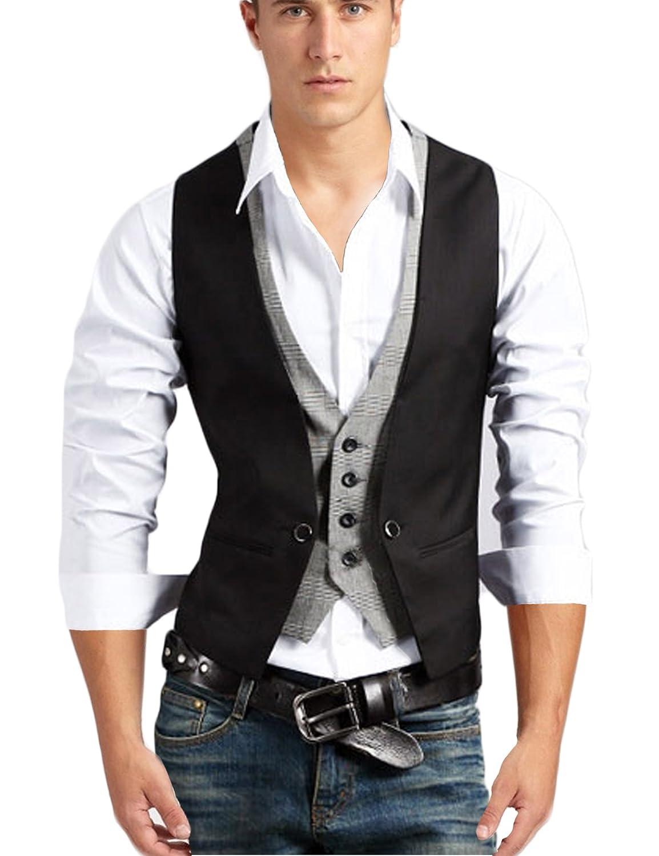 Jueshanzj Mens Vest Sleeveless Casual Business Button Waistcoat ZTJSNC0336