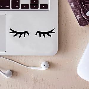 "Set of 5 Vinyl Wall Art Decal - Small Eyelashes - 1"" x 2"" Each - Cute Laptop Skin Decal - Girly Teens Small Stencil Adhesive for Home Mirror Window Car Bumper Sticker (1"" x 2"" Each, Black)"
