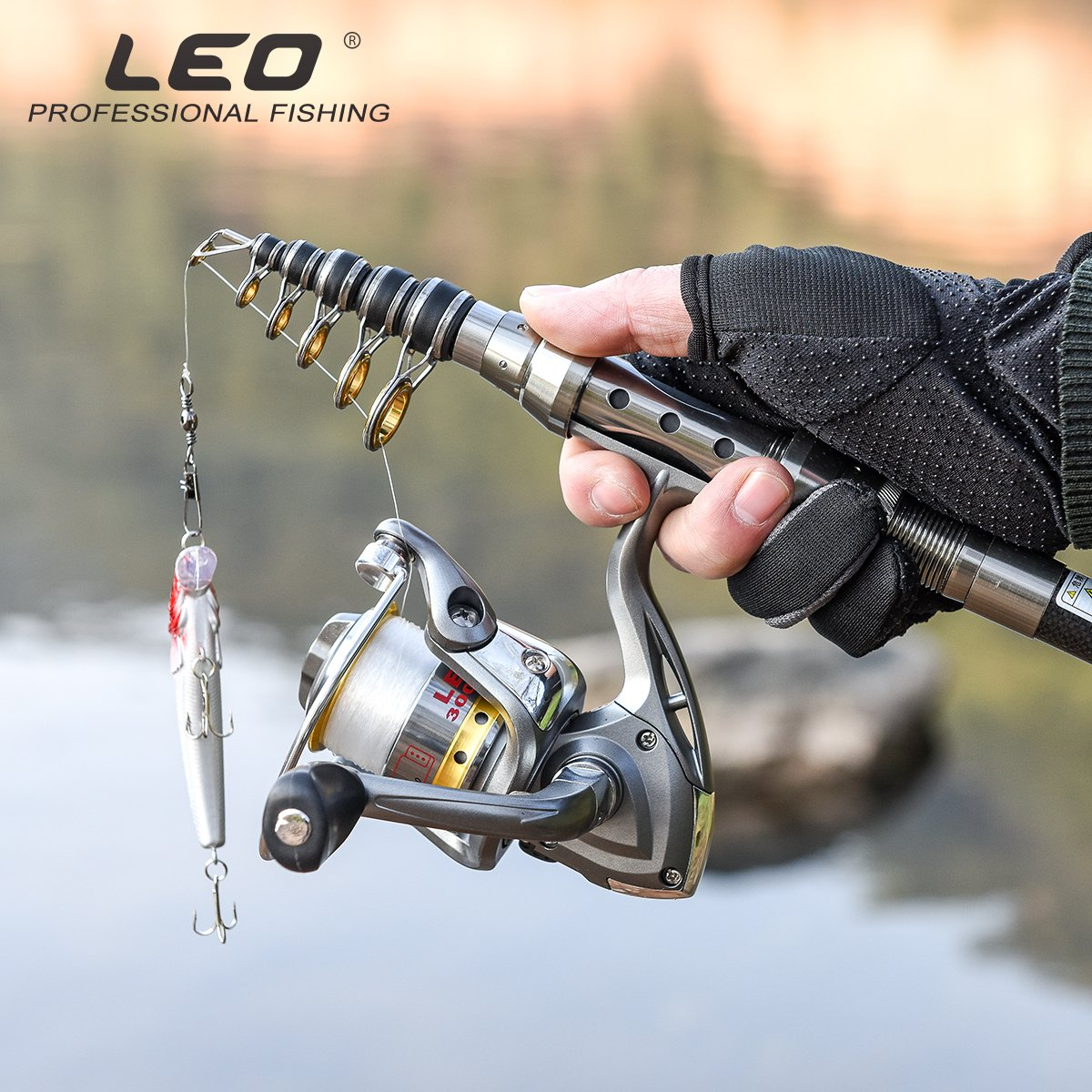 Leo Telescopic Fishing Rod and Reel Combos with Full Kits and Carrier Bag Carbon Fiber Fishing Pole for Travel Saltwater Freshwater Fishing