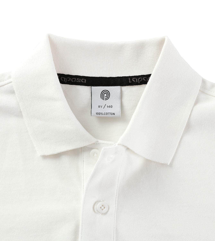 4bd9745c5b LAPASA Boy's Polo Shirt Sleeve Breathable Uniform - Kids Original Pique  Knit Polo Shirt - K03