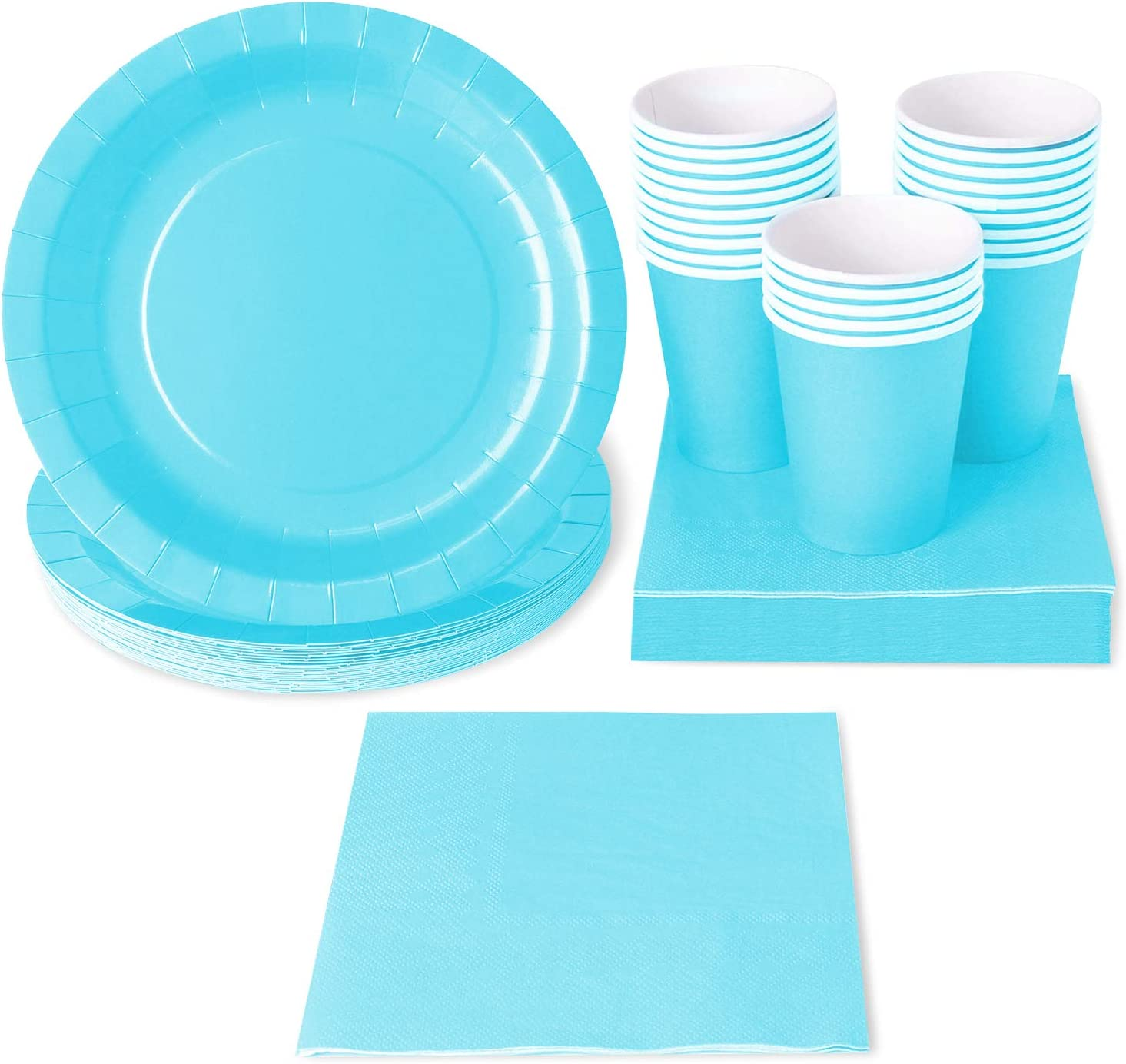 Teal Party Supplies, Paper Plates, Cups, and Napkins (Serves 24, 72 Pieces)
