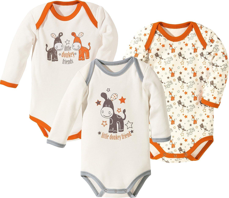Erwin M/üller Baby-Body 3er-Pack mit Druckmotiv Interlock-Jersey mandarine Gr/ö/ße 62 68