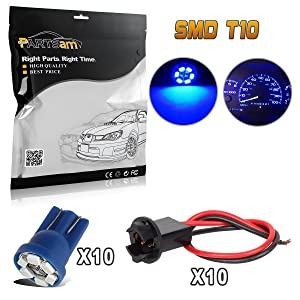 Partsam T10 194 LED Light Bulb 168 LED Bulbs Bright Instrument Panel Gauge Cluster Dashboard LED Light Bulbs with Socket Extension Connector Wire Harness 10Pack-Blue