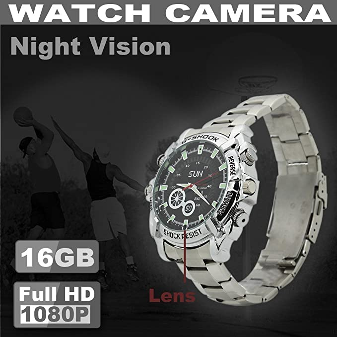 SUNDREAM® 16GB HD 1080p reloj impermeable con cámara oculta-plata metal correa + dial negro: Amazon.es: Bricolaje y herramientas