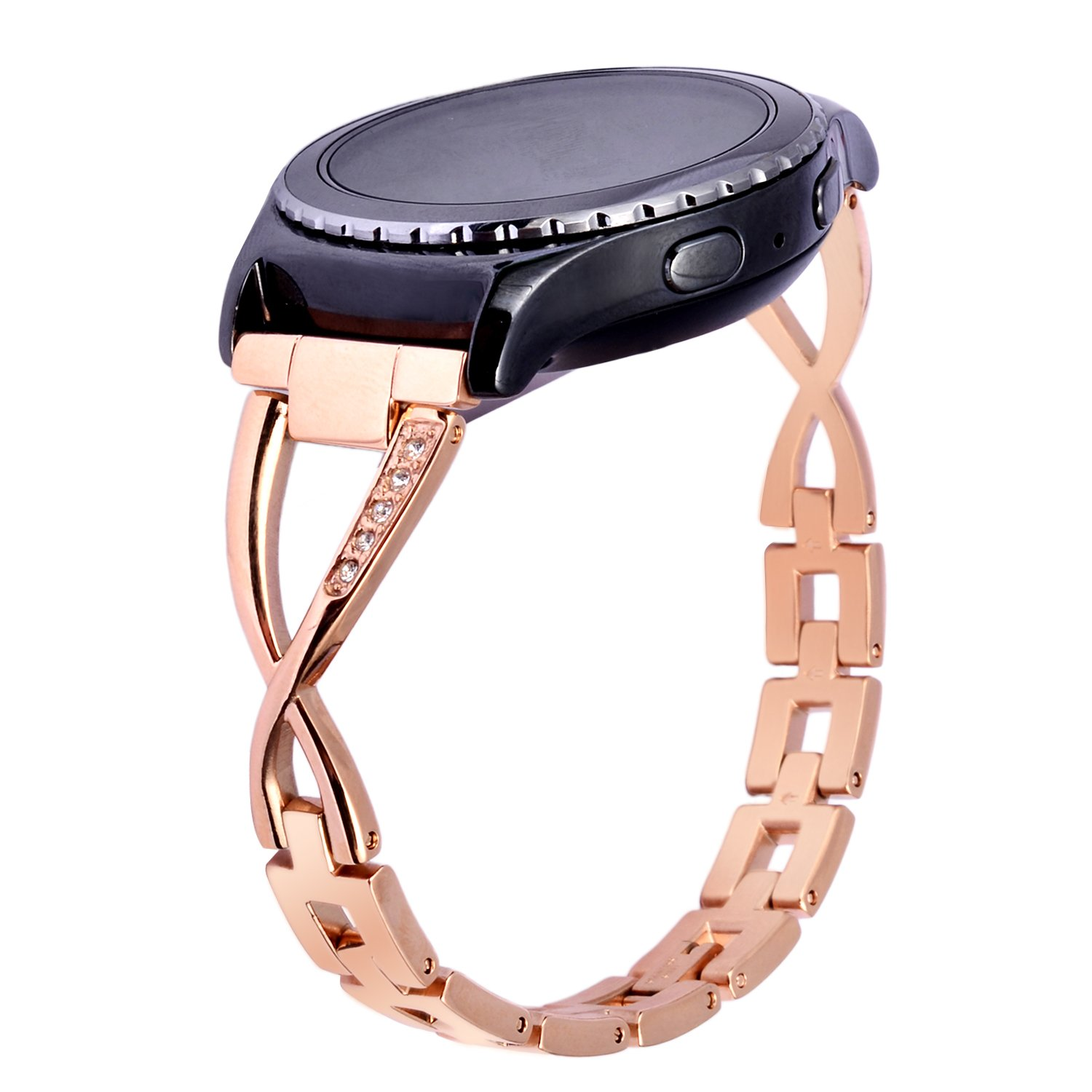 WISHTA 22mm Quick Release Stainless Steel Women&Men Clasp Strap for Samsung Gear S3 Classis/Frontier Gear 2 R380/R381/R382 Smartwatch Replacement ...