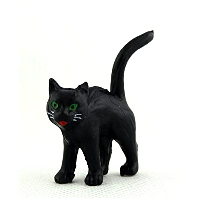 Melody Jane Dolls Houses House Miniature Animal Pet Halloween Accessory Black Cat Standing: Toys & Games