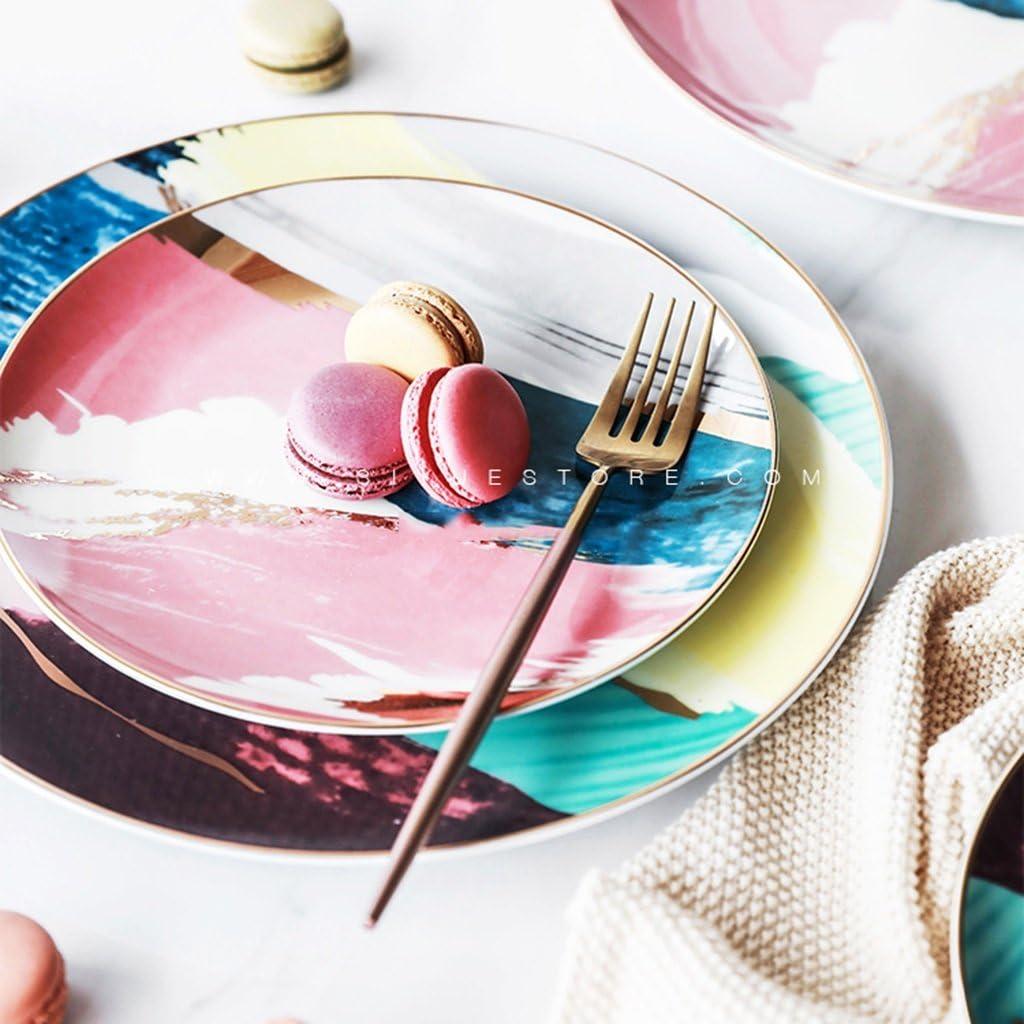 Platos de vajilla de cerámica con borde dorado de color acuarela estilo occidental, para decoración del hogar, plato de postre, bandeja de frutas: Amazon.es: Hogar