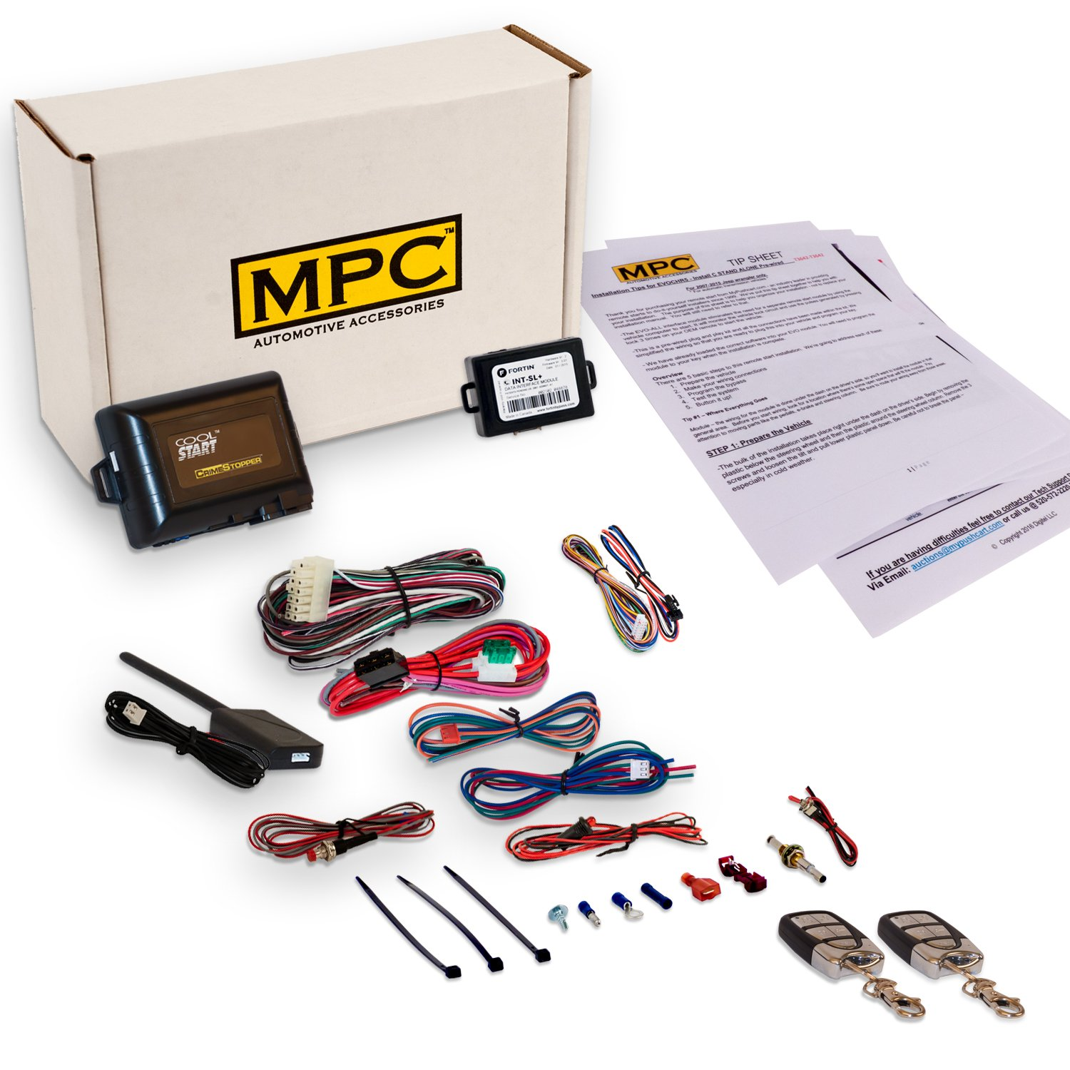 Complete Remote Start Kit w/Keyless Entry For 1999-2004 Jeep Grand Cherokee - w/Bypass and (2) 5 Button 1 Way Remotes