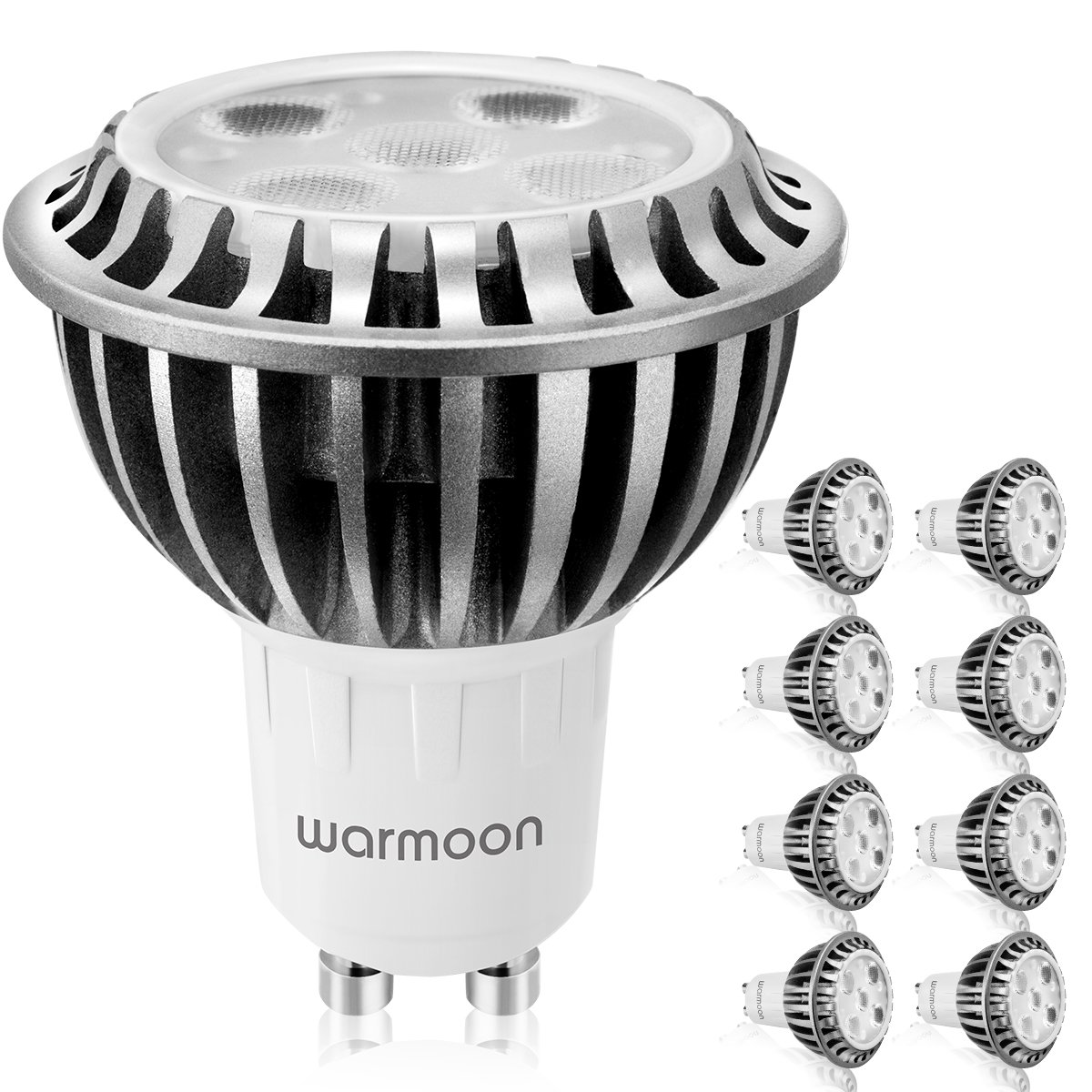 Warmoon GU10 LED Bulbs, 5W (50W equivalent),6500K(Daylight White), 60 Beam Angle, Standard Size LED Light Bulbs(Pack of 8)