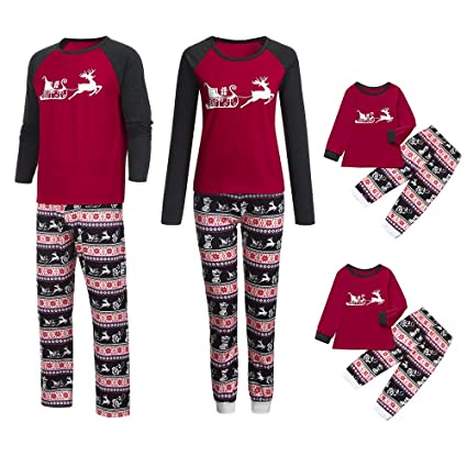 dbed5e2427 Amazon.com  Franterd Christmas Family Matching Pajamas Set Mommy Daddy  Me  Parents Child Cartoon Xmas Deer Tops + Snowflake Pants  Toys   Games