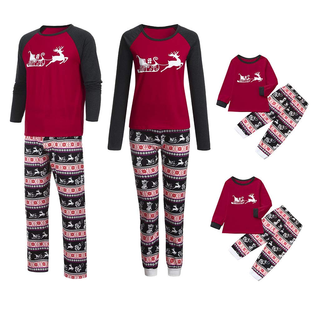 Dylung Family Christmas Mommy Baby Toddler Pajamas Matching Cartoon Print Blouse Sleepwear Nightwear Homewear Jumpers Tops+Plaid Pants Clothes Set