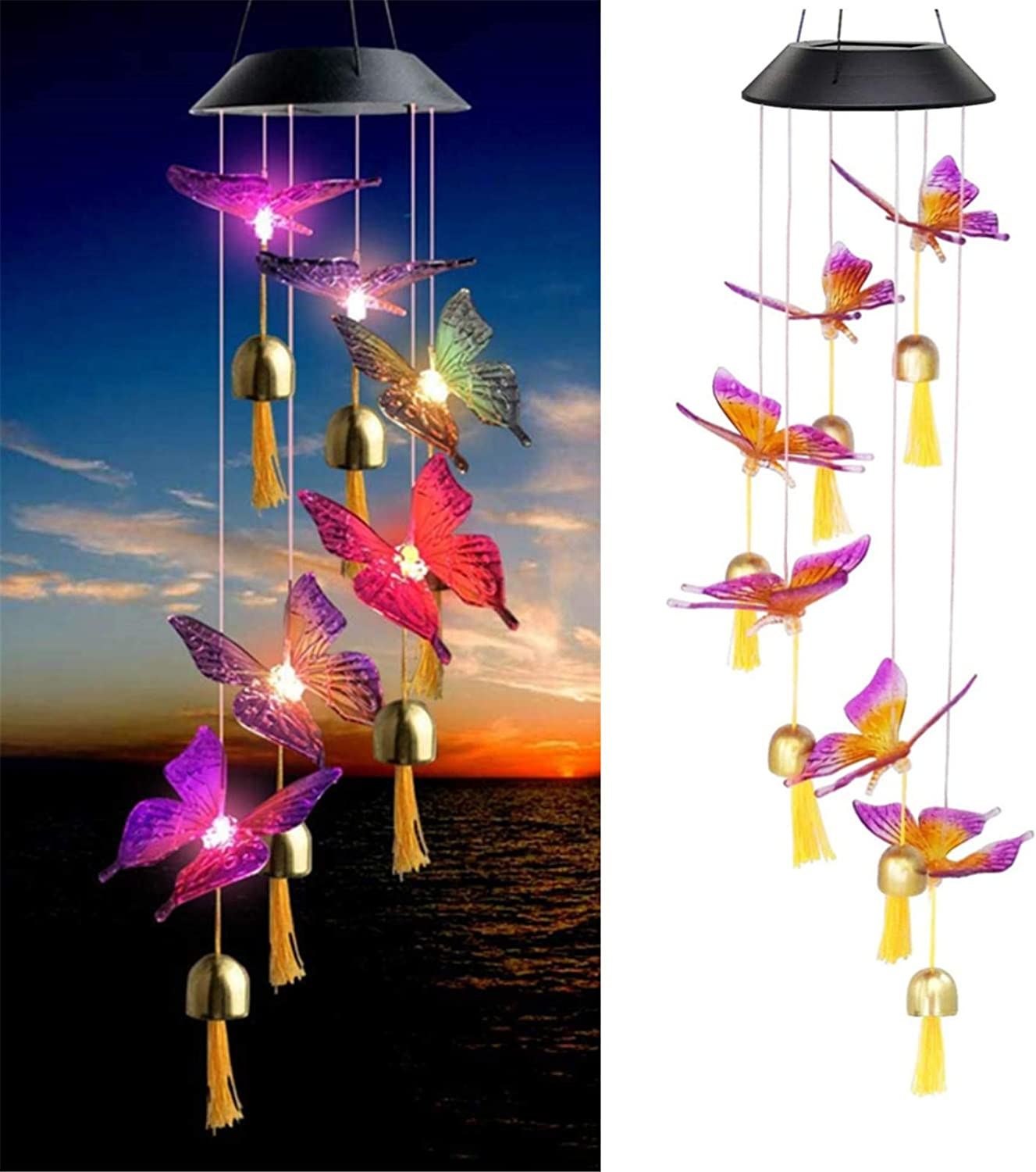XingTong Solar Wind Chimes Butterfly Chimes Solar Lights Chimes Color Changing LED Wind Chimes Outdoor Solar Hanging Lights Garden Decor for Garden, Deck, Patio,Yard&Home (Butterfly)