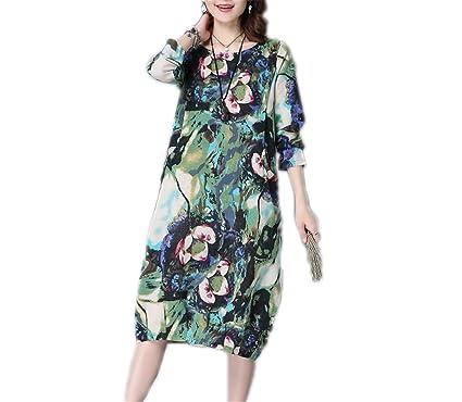 NUNUNI Fashion cotton linen vintage print women casual loose autumn dress vestidos femininos party dresses Green