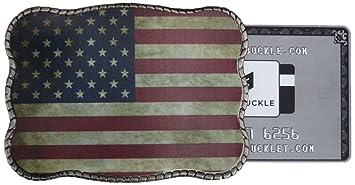 Amazon.com: Rústico La bandera americana cartera Hebilla de ...