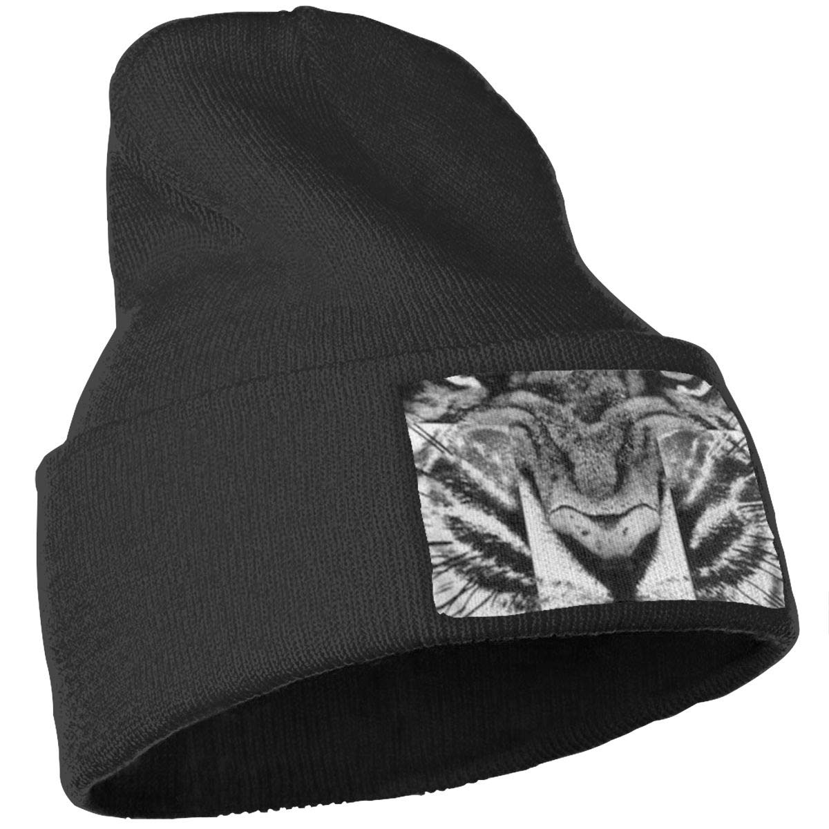 Roar Tiger Hat for Men and Women Winter Warm Hats Knit Slouchy Thick Skull Cap Black