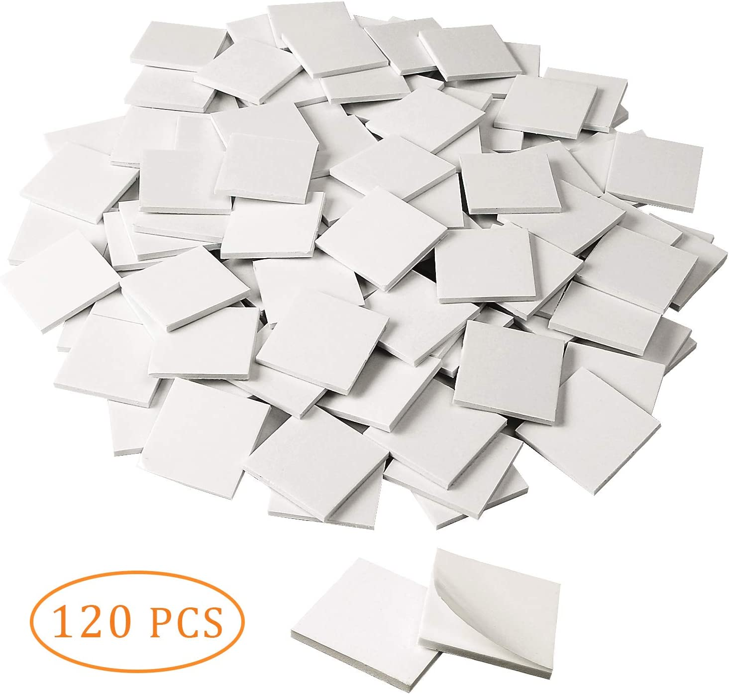 120 Pack Square Double Sided Foam Tape Strong Pad Mounting Adhesive Tape (White)