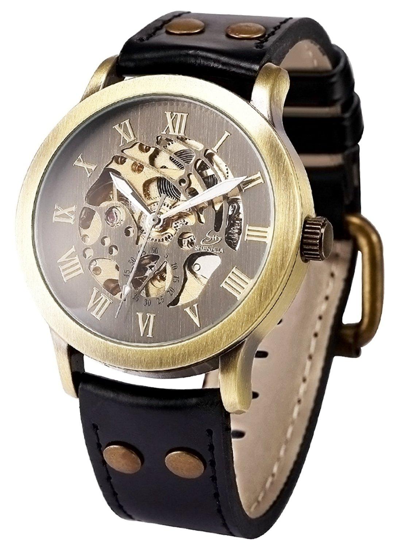 Mens Steampunk Skeleton Case Automatic Mechanical Self-Winding Leather Sport Wrist Watch 3