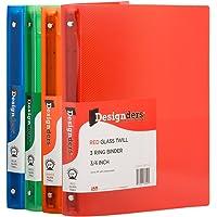 JAM PAPER Plastic 0.75 inch Binders - Assorted 3 Ring Binders (Red, Blue, Green & Orange) - 4/Pack