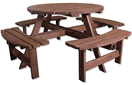 Woodside Seater Round Outdoor Pressure Treated Wooden Pub Bench - 8 seater round picnic table