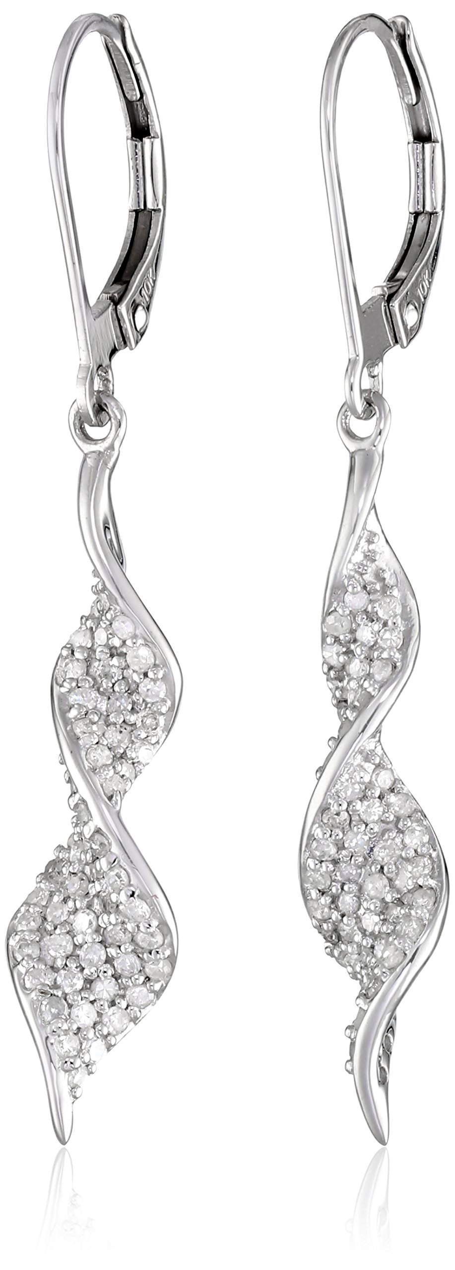 10k White Gold Diamond Spiral Drop Earrings (1/2 cttw, I-J Color, I2-I3 Clarity)