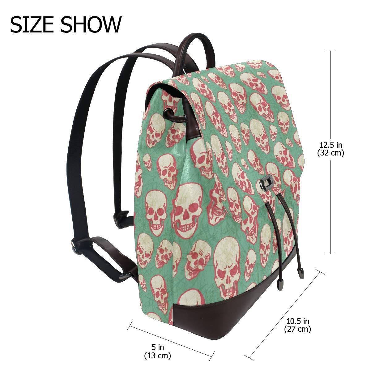 Leather Halloween Skull Backpack Daypack Bag Women