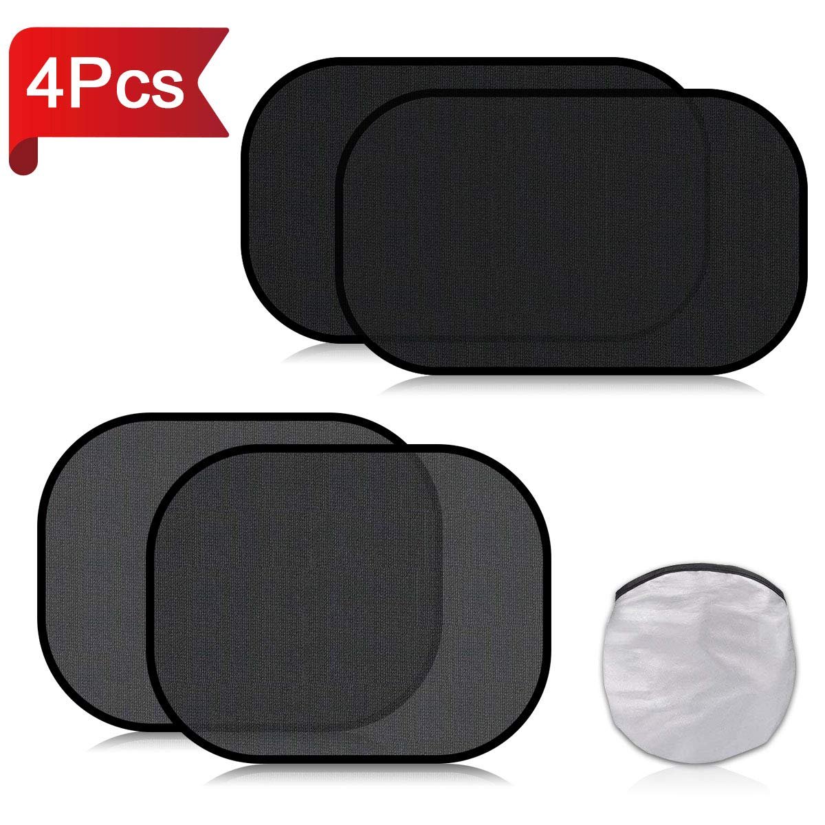 Car Window Shades for Baby 4 Pack, Auto Sun Shiled for Blocking UV Ray Protecting Kids Pets Family- Baby Car Side Window Sun Shades- with 2 Size: 2 Transparent & 2 Semi-Transparent Sunshades