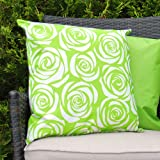 Waterproof Garden Cushions for Chairs - Fibre Filled Cushions for Seats and Benches - Colourful Outdoor Cushion (1, Print - Rose Lime Green)