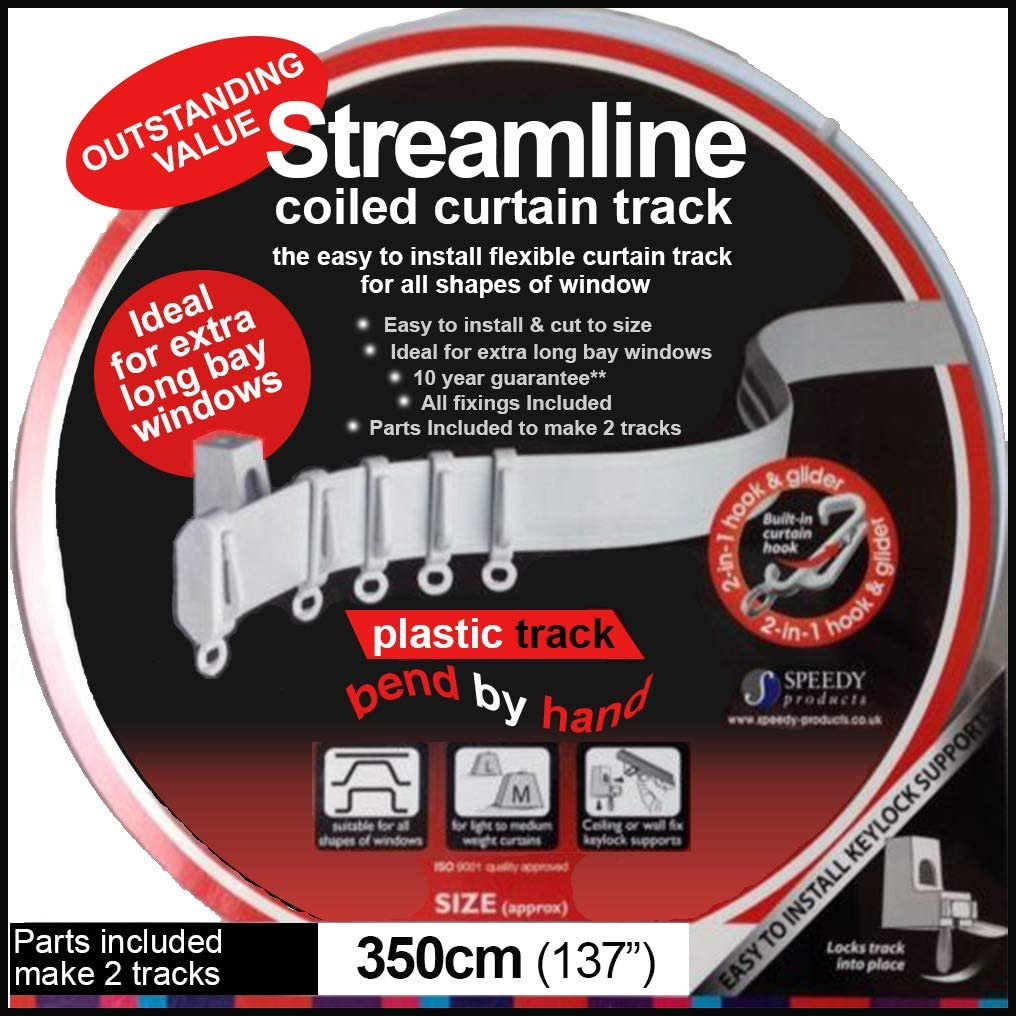 3.5m BENDABLE CURTAIN TRACK FOR STRAIGHT & BAY WINDOW RAIL Top or Face Fix all Fixings
