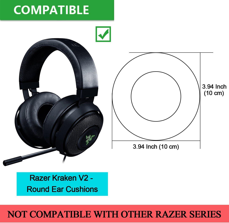 Round Razer Kraken V2 Earpads Black JARMOR Replacement Memory Foam Ear Cushion Kit Pad Cover for Razer Kraken V2 Headphone ONLY