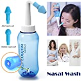 Tonelife Nasal Nose Wash Bottle Nasal Cleanse 10oz 300ml Nose Cleaner Clean Irrigator Allergies Relief Pressure Rinse Neti Pot Cleanser Irrigation Nasal Cleansing Washer Sneezer Washing,Blue Color