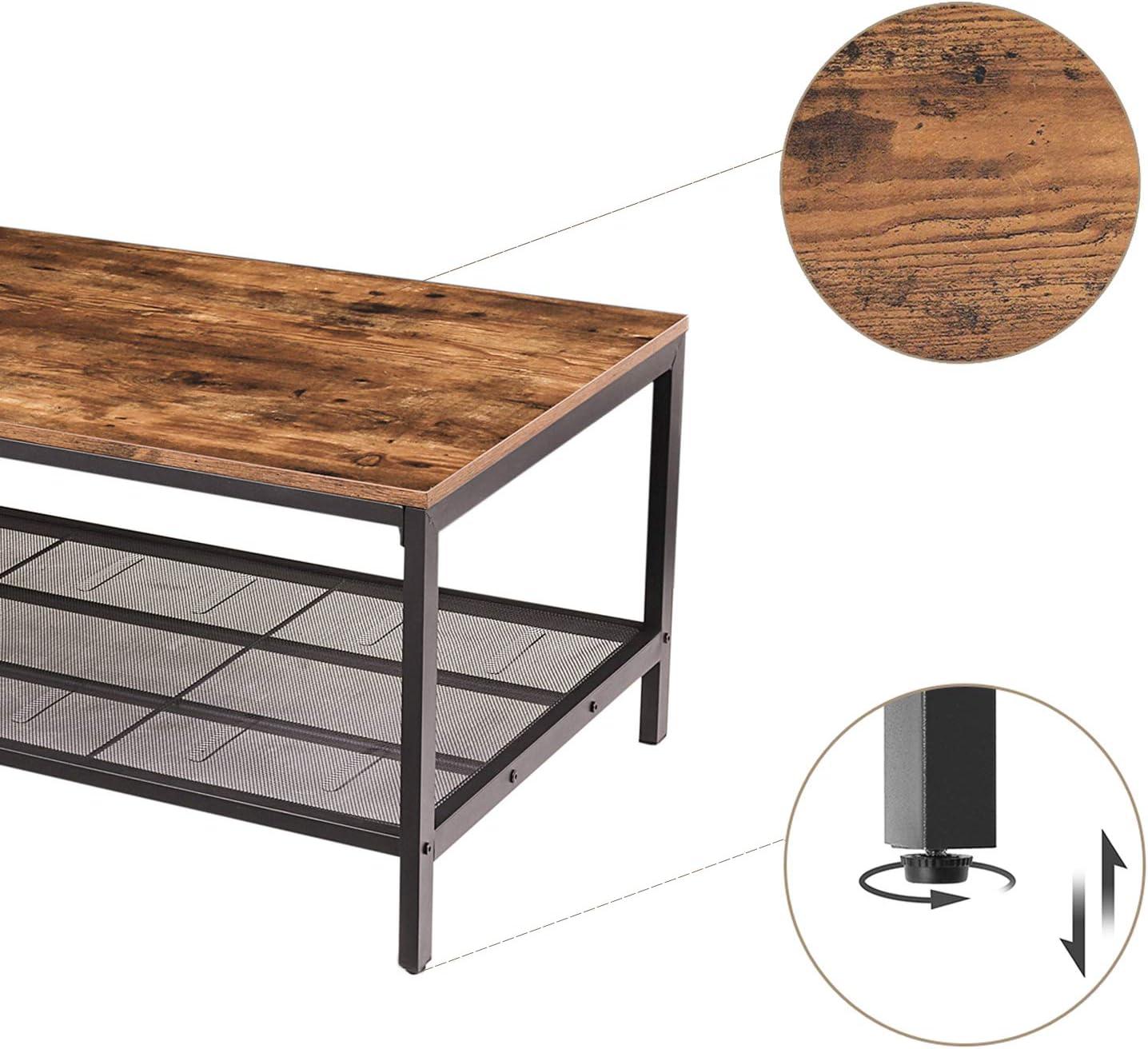 Dunkelbraun EBF02KF01 industrieller Cocktailtisch mit Aufbewahrungsregal f/ür Wohnzimmer HOOBRO Couchtisch Stabiler und Funktionstisch M/öbel in Holzoptik mit Metallrahmen einfach zu montieren