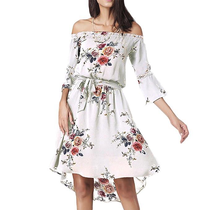 Mujer Vestido Gasa Manga 3/4 cuello barco de Florales Impresa Irregular Cortos Midi vestidos