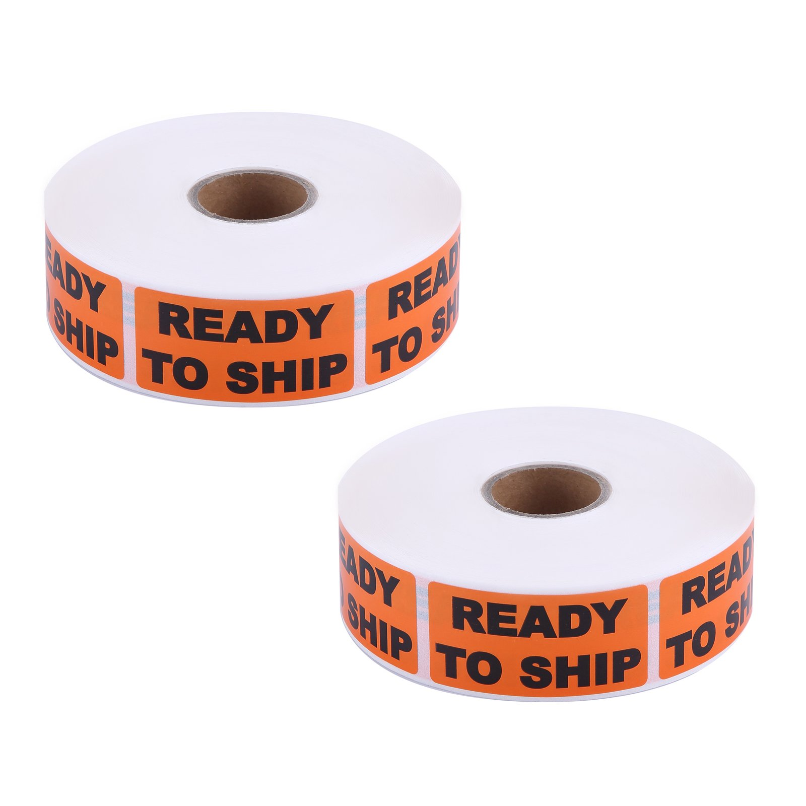 Ready to Ship Label, 2000 Labels, 1'' x 2'' Flourescent Orange [2 Rolls of 1000 Labels]