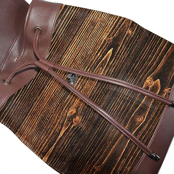 SGSKJ Mochila de Cuero Mujer Bolso Efecto de madera oscura
