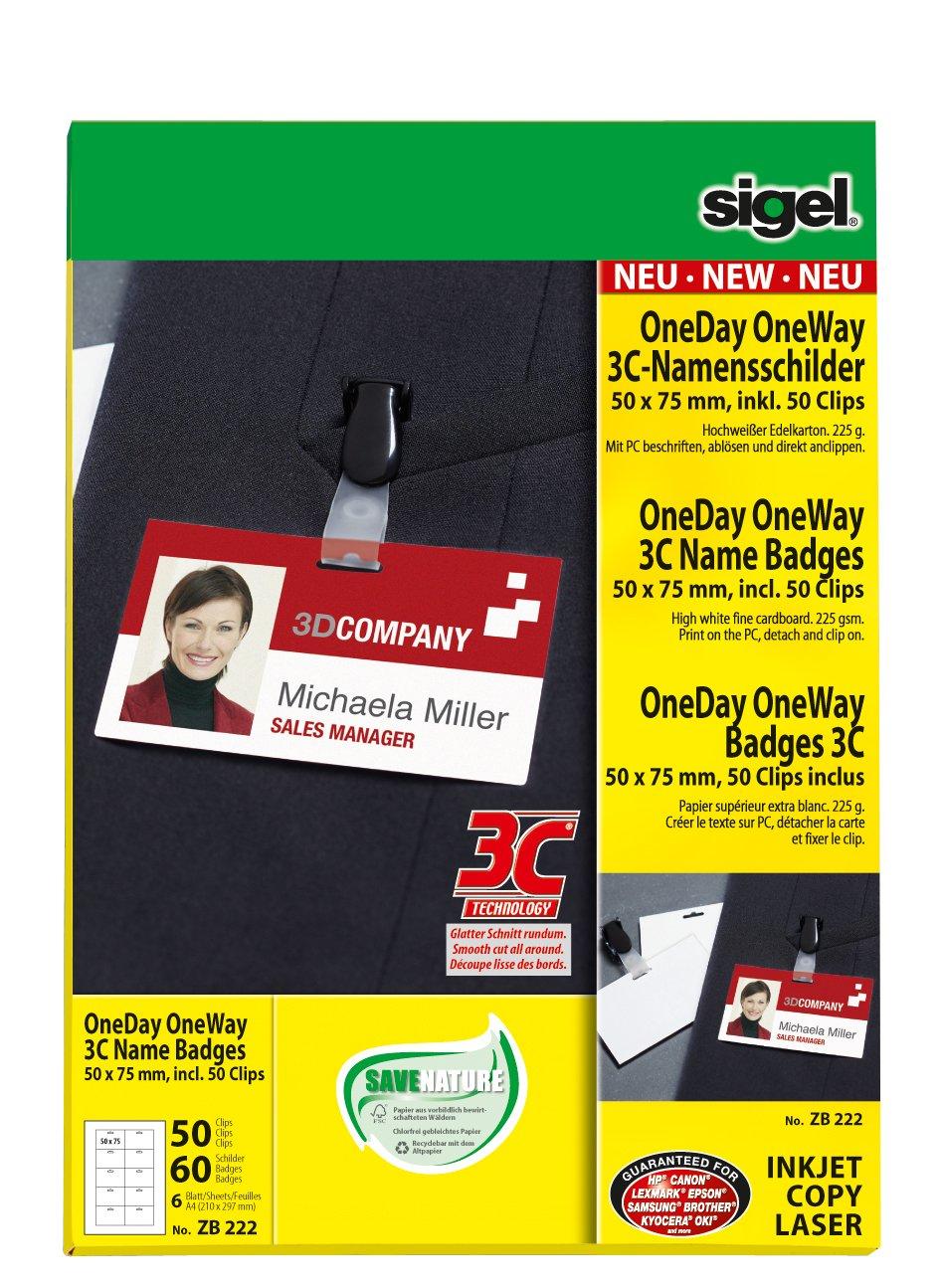 60 St/ück SIGEL ZB222 Namensschilder PC beschriftbar 50 Clips