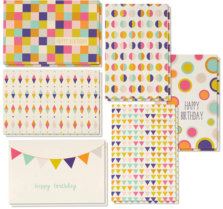 Biglietto di auguri di compleanno–48-pack box set, 6Seamless geometrico design compleanno di blocco, buste incluse, 10,2x 15,2cm Juvale