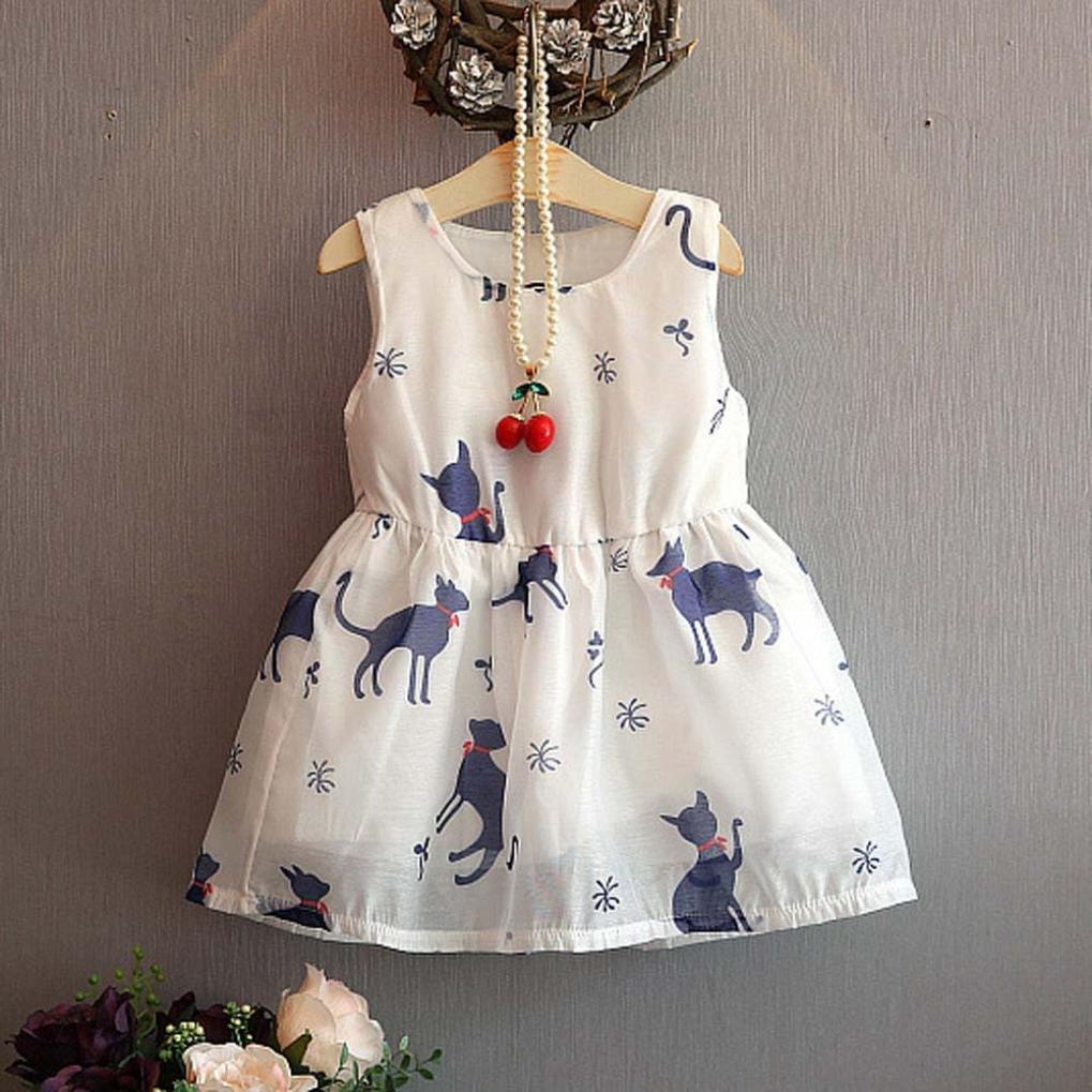Fabal Sleeveless Cartoon Cats Pattern Dress White Princess for Kids Dresses
