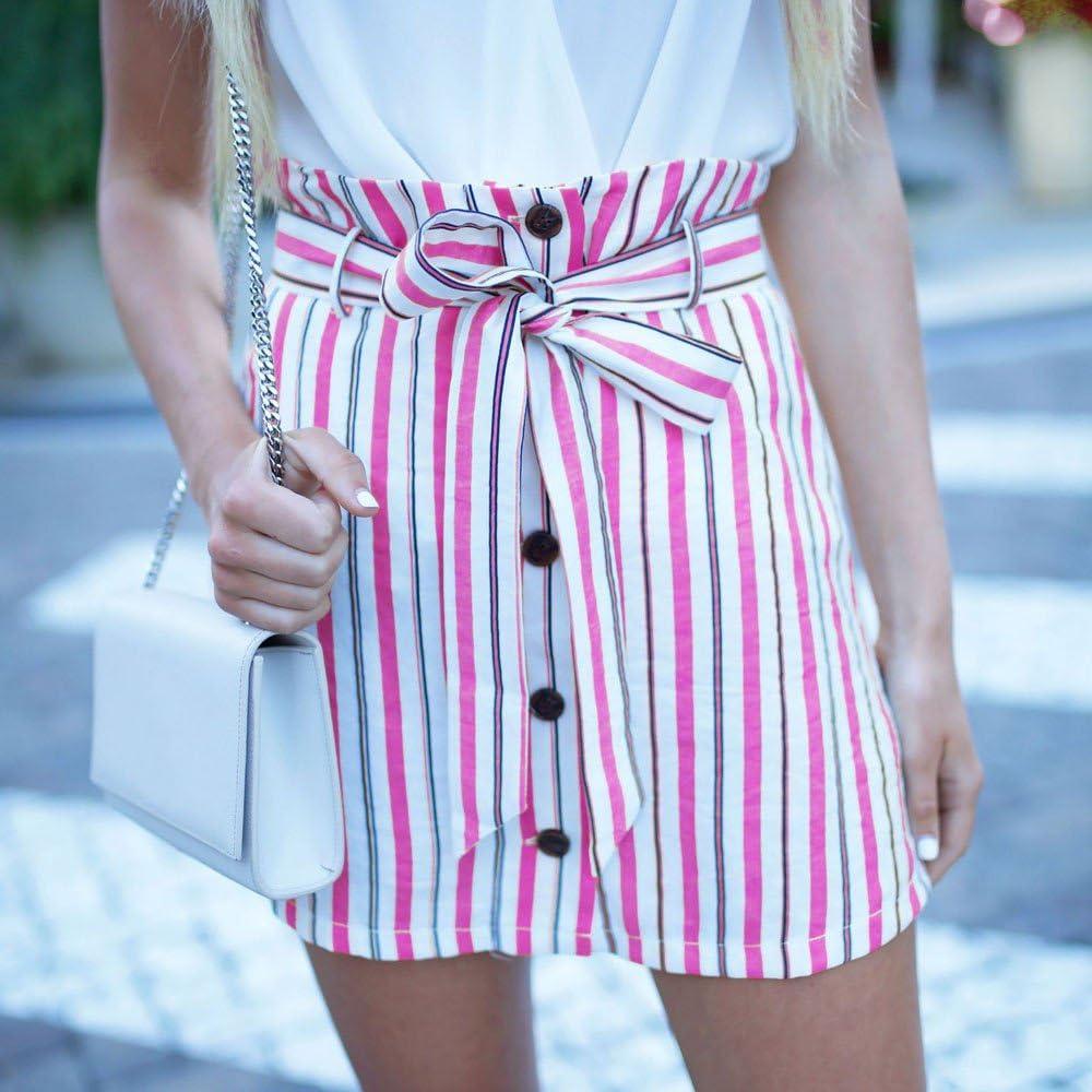 Lavany Wrap Striped Skirt for Women Front Button Bandage Mini Short Skirts for Girl